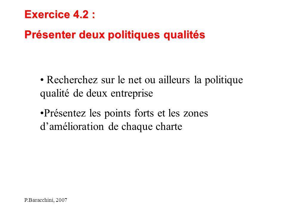 P.Baracchini, 2007 Exercice 4.2 : Présenter deux politiques qualités Recherchez sur le net ou ailleurs la politique qualité de deux entreprise Présent
