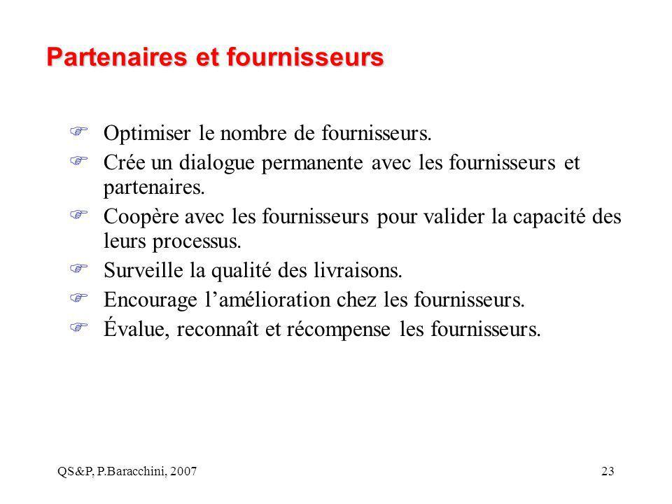 QS&P, P.Baracchini, 200723 Partenaires et fournisseurs  Optimiser le nombre de fournisseurs.  Crée un dialogue permanente avec les fournisseurs et p