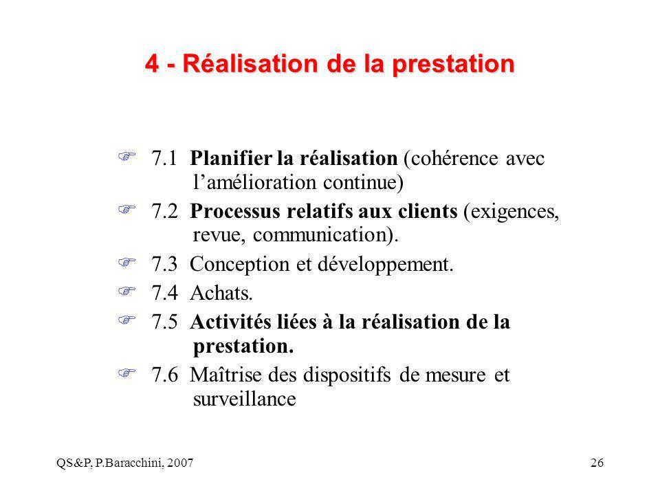 QS&P, P.Baracchini, 200726 4 - Réalisation de la prestation  7.1 Planifier la réalisation (cohérence avec l'amélioration continue)  7.2 Processus re