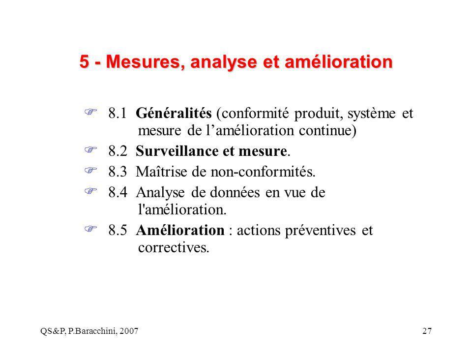 QS&P, P.Baracchini, 200727 5 - Mesures, analyse et amélioration  8.1 Généralités (conformité produit, système et mesure de l'amélioration continue) 