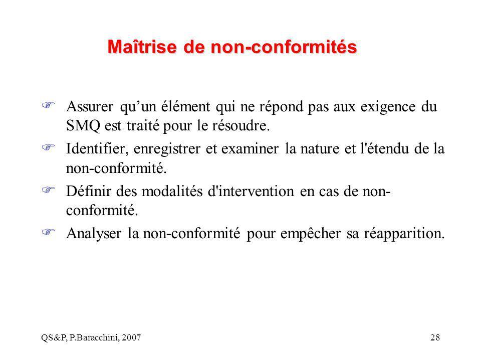 QS&P, P.Baracchini, 200728 Maîtrise de non-conformités  Assurer qu'un élément qui ne répond pas aux exigence du SMQ est traité pour le résoudre.  Id