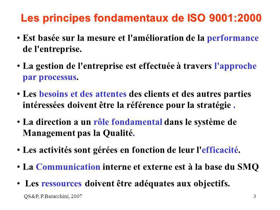 QS&P, P.Baracchini, 20073 Les principes fondamentaux de ISO 9001:2000 Est basée sur la mesure et l'amélioration de la performance de l'entreprise. La