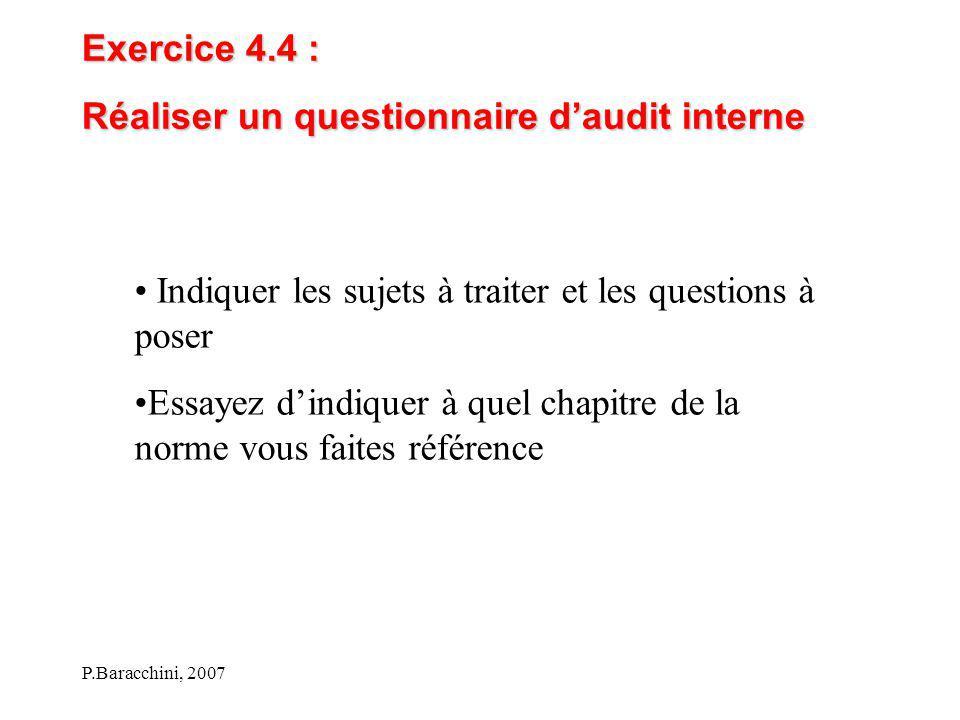 P.Baracchini, 2007 Exercice 4.4 : Réaliser un questionnaire d'audit interne Indiquer les sujets à traiter et les questions à poser Essayez d'indiquer