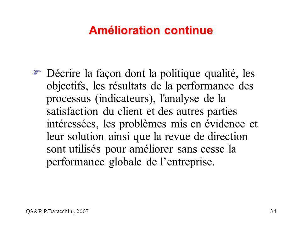 QS&P, P.Baracchini, 200734 Amélioration continue  Décrire la façon dont la politique qualité, les objectifs, les résultats de la performance des proc
