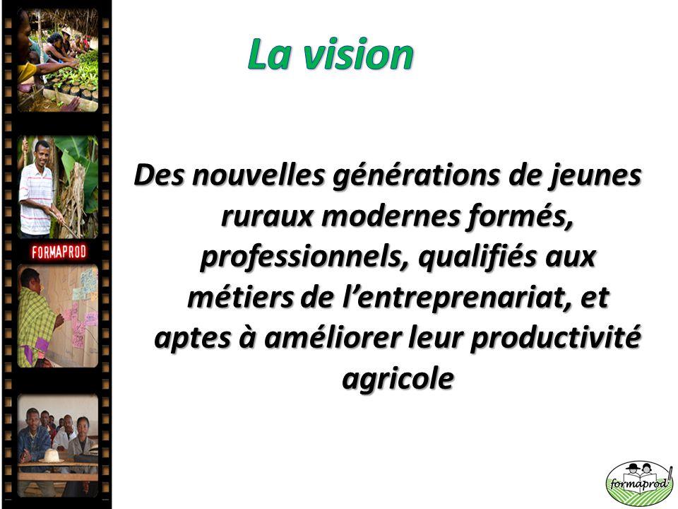 Des nouvelles générations de jeunes ruraux modernes formés, professionnels, qualifiés aux métiers de l'entreprenariat, et aptes à améliorer leur produ