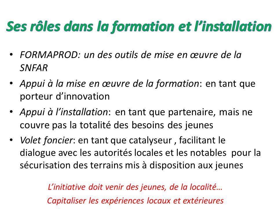 FORMAPROD: un des outils de mise en œuvre de la SNFAR Appui à la mise en œuvre de la formation: en tant que porteur d'innovation Appui à l'installatio