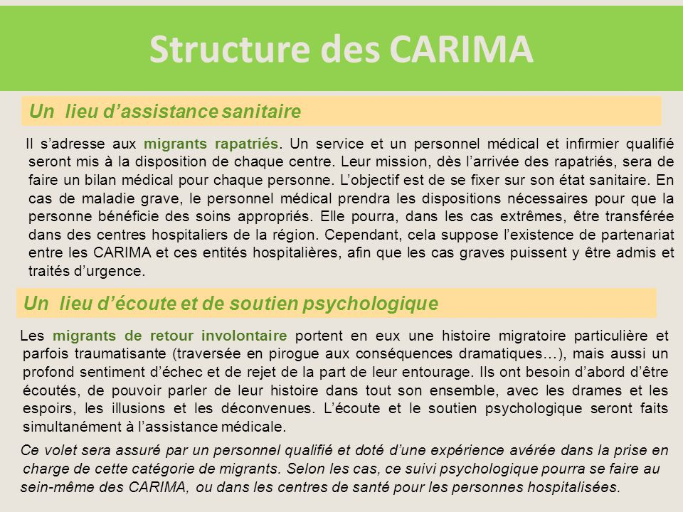 Structure des CARIMA Il s'adresse aux migrants rapatriés.