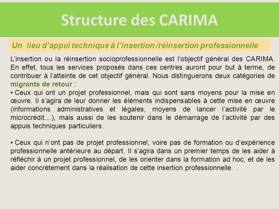 Structure des CARIMA L'insertion ou la réinsertion socioprofessionnelle est l'objectif général des CARIMA.