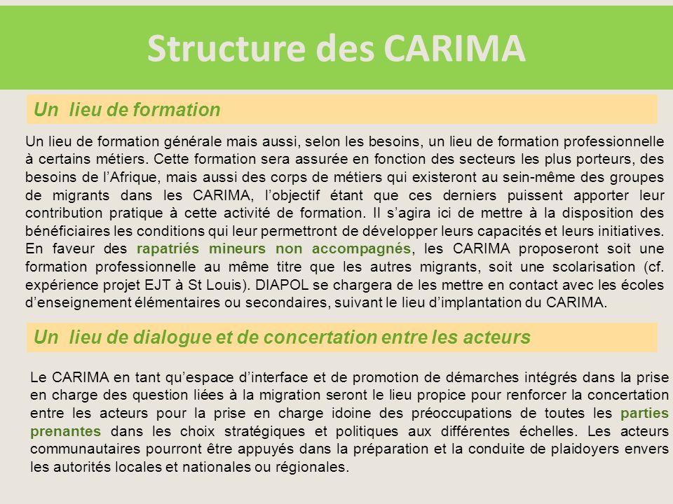 Structure des CARIMA Un lieu de formation générale mais aussi, selon les besoins, un lieu de formation professionnelle à certains métiers.