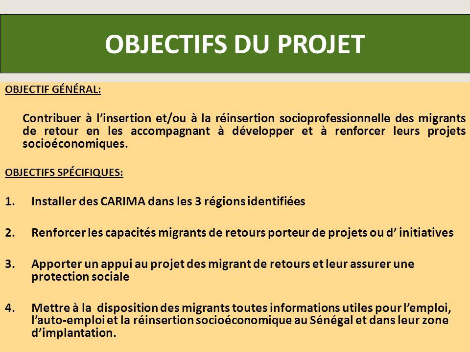 OBJECTIFS DU PROJET OBJECTIF GÉNÉRAL: Contribuer à l'insertion et/ou à la réinsertion socioprofessionnelle des migrants de retour en les accompagnant à développer et à renforcer leurs projets socioéconomiques.