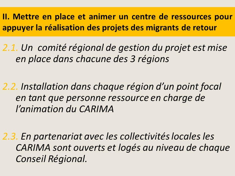 II. Mettre en place et animer un centre de ressources pour appuyer la réalisation des projets des migrants de retour 2.1. Un comité régional de gestio