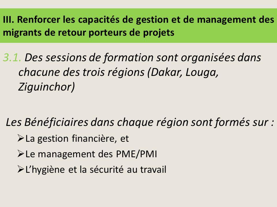 III. Renforcer les capacités de gestion et de management des migrants de retour porteurs de projets 3.1. Des sessions de formation sont organisées dan
