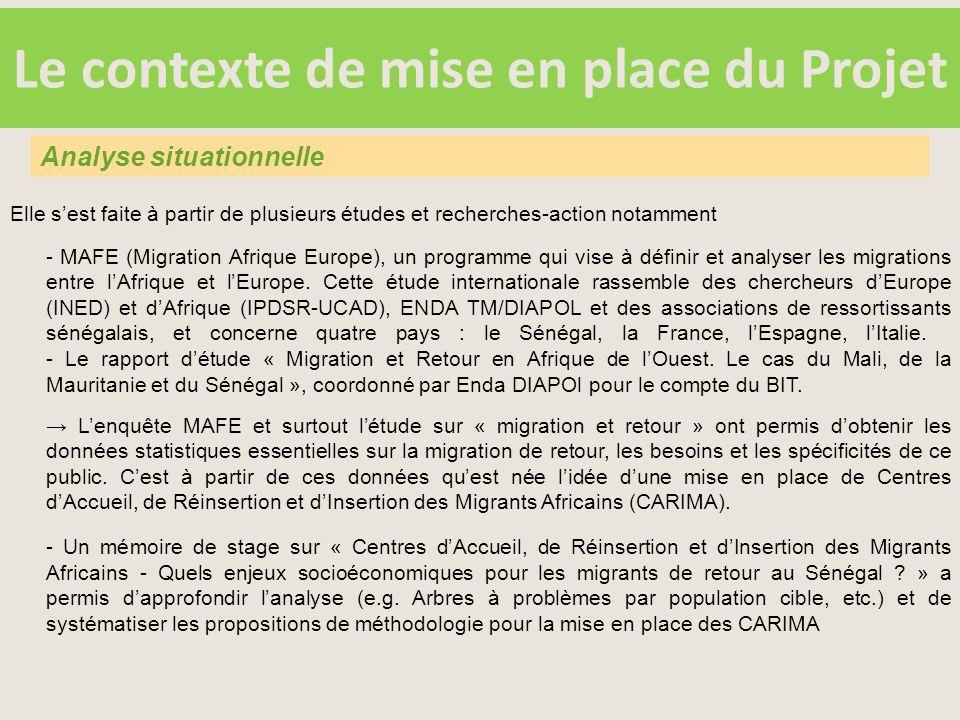 Le contexte de mise en place du Projet Elle s'est faite à partir de plusieurs études et recherches-action notamment - MAFE (Migration Afrique Europe), un programme qui vise à définir et analyser les migrations entre l'Afrique et l'Europe.
