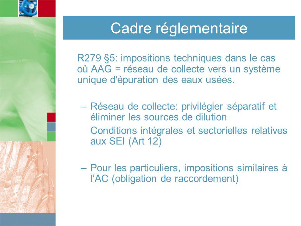 Cadre réglementaire R279 §5: impositions techniques dans le cas où AAG = réseau de collecte vers un système unique d épuration des eaux usées.