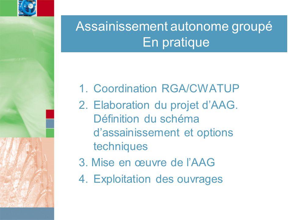 Assainissement autonome groupé En pratique 1. Coordination RGA/CWATUP 2.