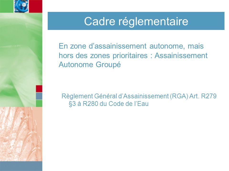 Cadre réglementaire En zone d'assainissement autonome, mais hors des zones prioritaires : Assainissement Autonome Groupé Règlement Général d'Assainissement (RGA) Art.