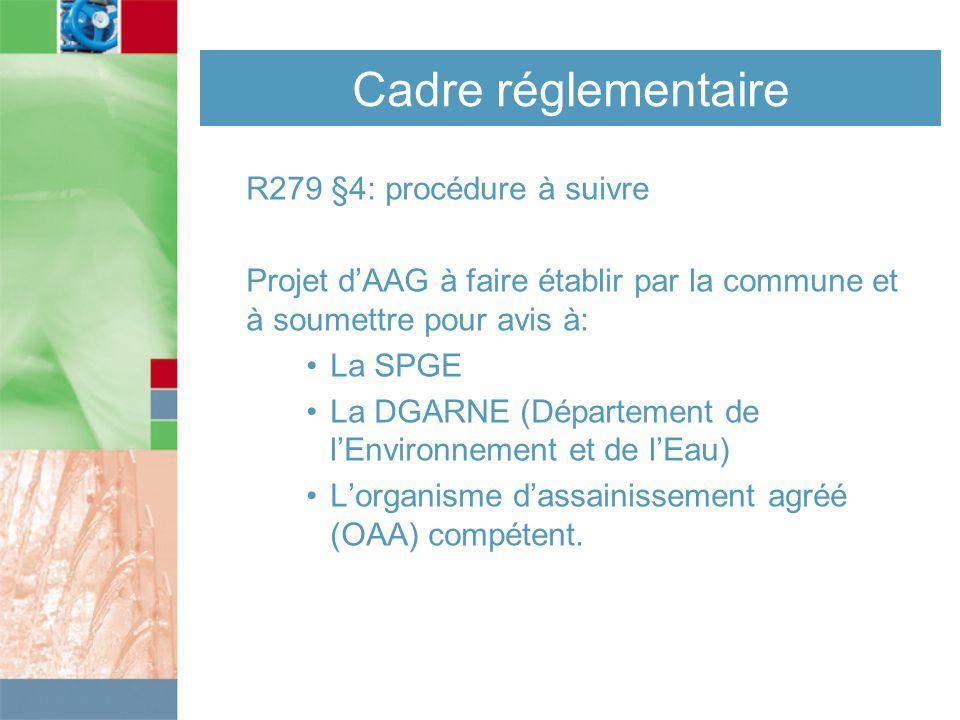 Cadre réglementaire R279 §4: procédure à suivre Projet d'AAG à faire établir par la commune et à soumettre pour avis à: La SPGE La DGARNE (Département de l'Environnement et de l'Eau) L'organisme d'assainissement agréé (OAA) compétent.