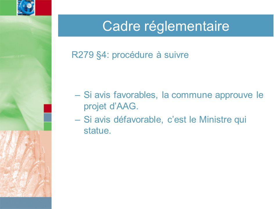 Cadre réglementaire R279 §4: procédure à suivre –Si avis favorables, la commune approuve le projet d'AAG.