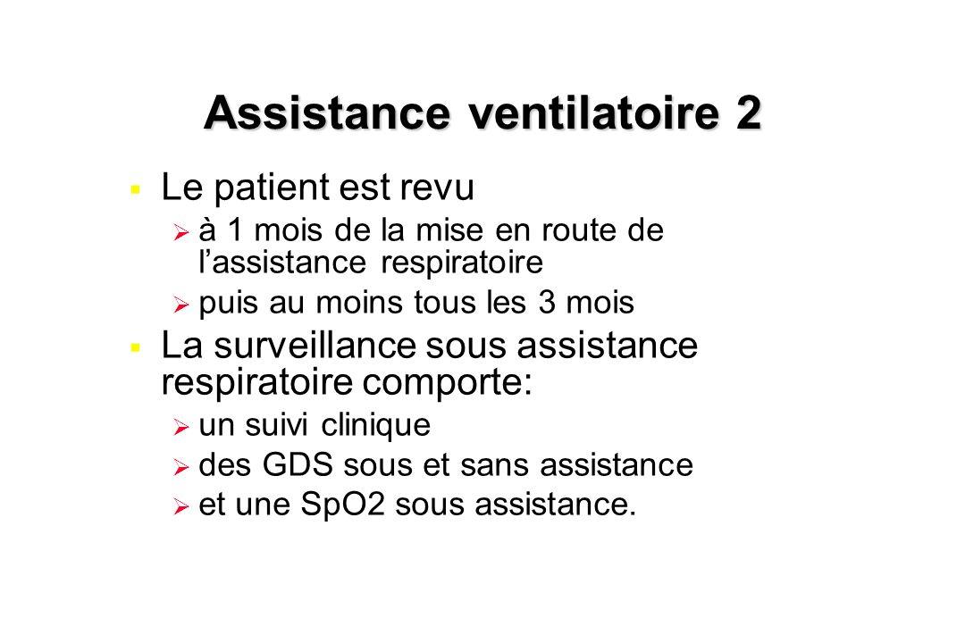 Assistance ventilatoire 2  Le patient est revu  à 1 mois de la mise en route de l'assistance respiratoire  puis au moins tous les 3 mois  La surve
