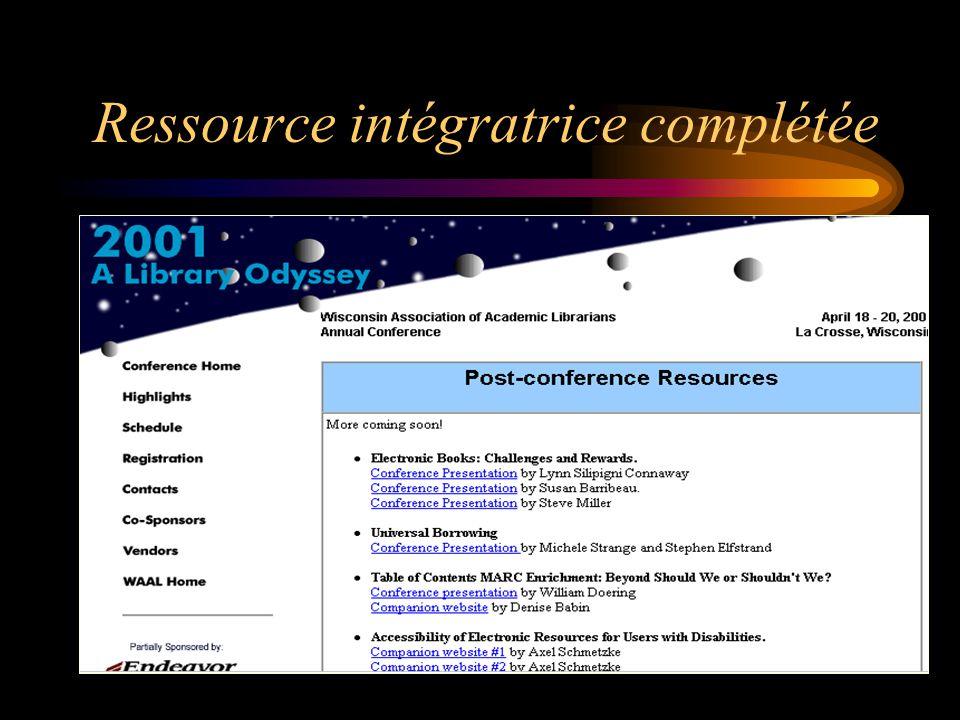 Ressource intégratrice Base de données maintenue à jour