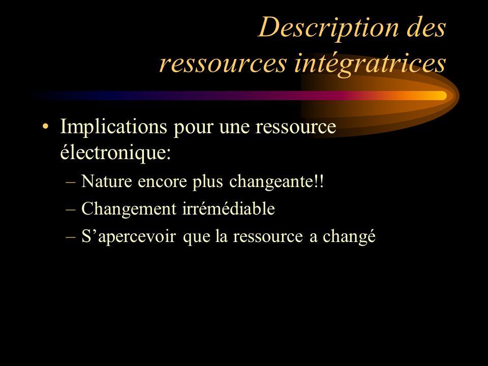 Description des ressources intégratrices Implications pour une ressource électronique: –Nature encore plus changeante!.