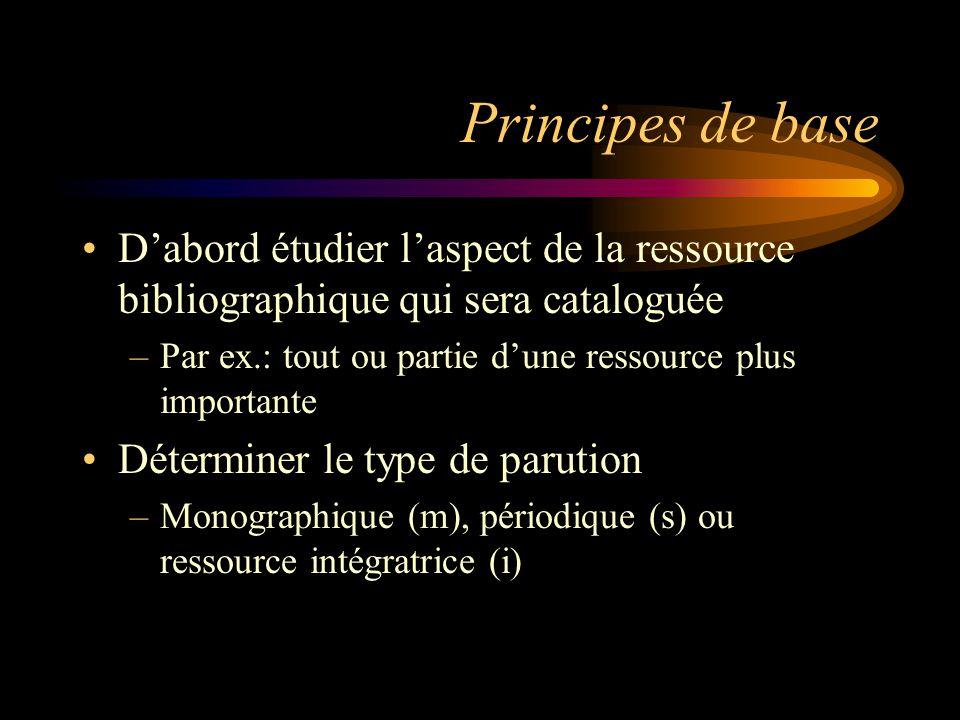 Principes de base Déterminer ensuite le type de contenu primaire du document à cataloguer –Par exemple: essentiellement textuel (a), cartographique (e), sonore (i ou j), etc.