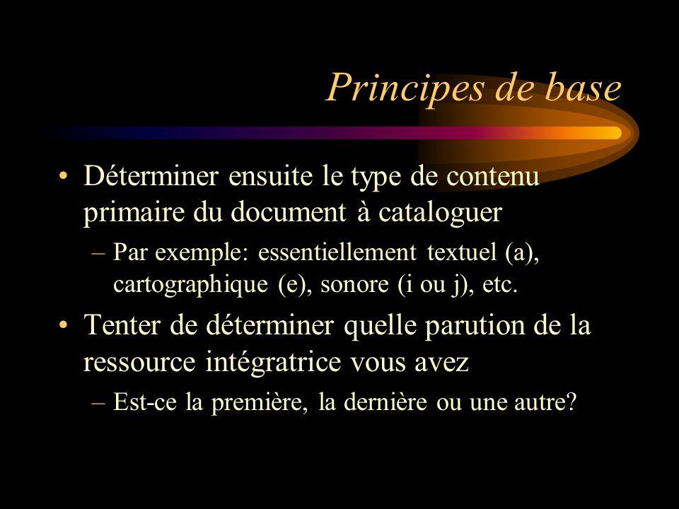 Principes de base La description d'une ressource intégratrice se fait toujours à partir de la parution courante Pour une ressource intégratrice électronique, il faut utiliser le chap.