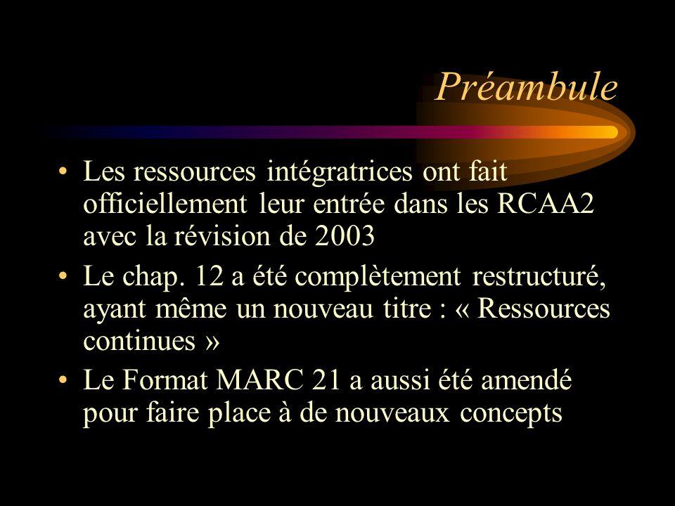 Préambule Les ressources intégratrices ont fait officiellement leur entrée dans les RCAA2 avec la révision de 2003 Le chap.