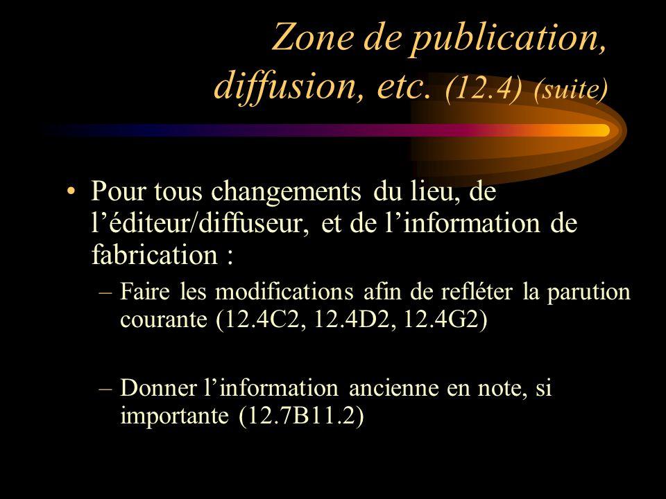Zone de publication, diffusion, etc.