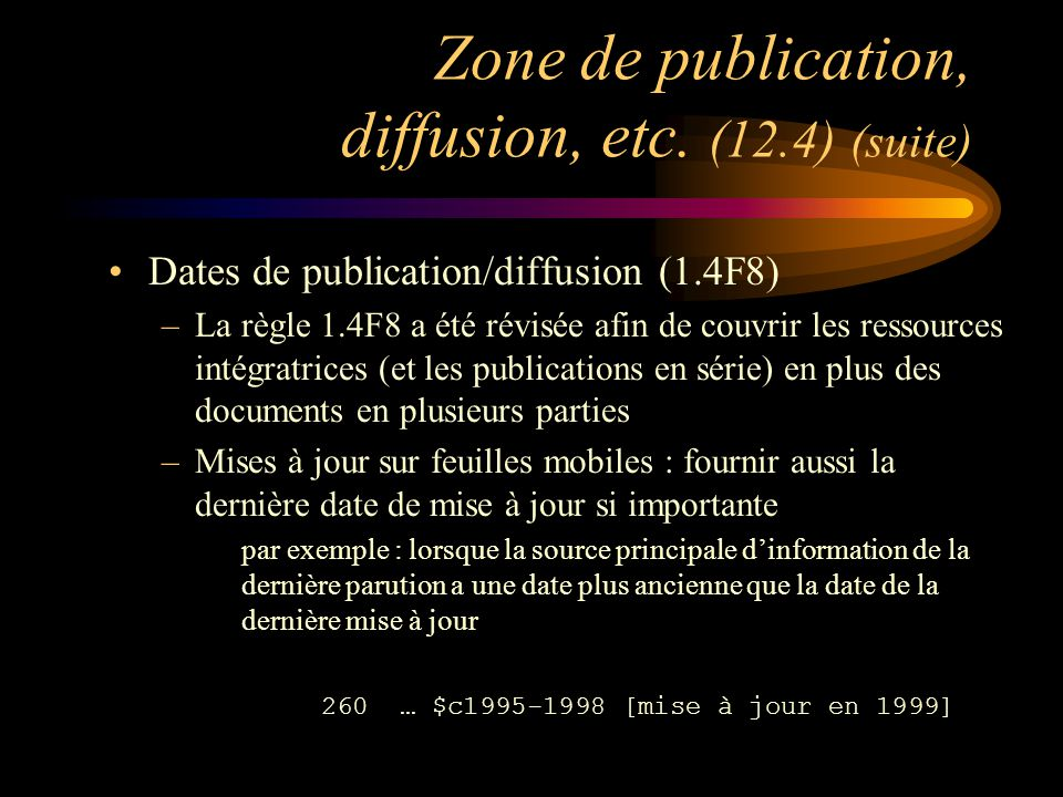 Zone de publication, diffusion, etc.