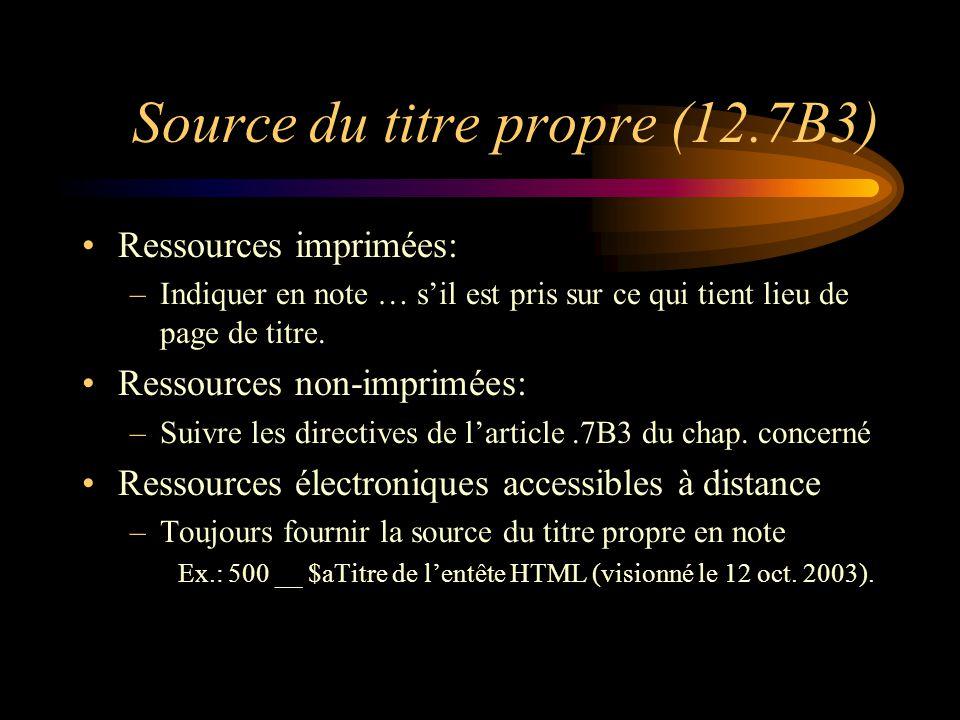 Source du titre propre (12.7B3) Ressources imprimées: –Indiquer en note … s'il est pris sur ce qui tient lieu de page de titre.