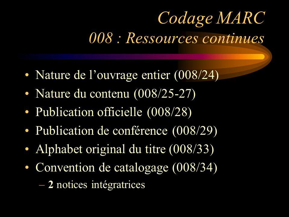 Codage MARC 008 : Ressources continues Nature de l'ouvrage entier (008/24) Nature du contenu (008/25-27) Publication officielle (008/28) Publication de conférence (008/29) Alphabet original du titre (008/33) Convention de catalogage (008/34) –2 notices intégratrices