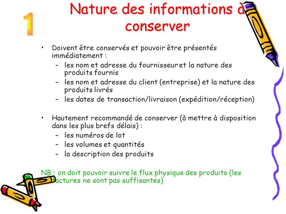 Nature des informations à conserver Doivent être conservés et pouvoir être présentés immédiatement : –les nom et adresse du fournisseur et la nature d