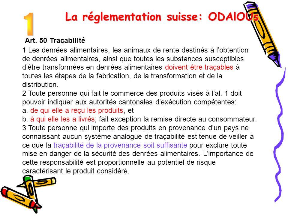 Art. 50 Traçabilité 1 Les denrées alimentaires, les animaux de rente destinés à l'obtention de denrées alimentaires, ainsi que toutes les substances s