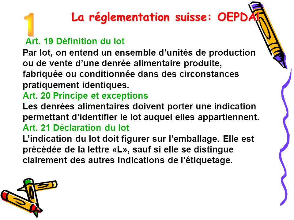 Art. 19 Définition du lot Par lot, on entend un ensemble d'unités de production ou de vente d'une denrée alimentaire produite, fabriquée ou conditionn