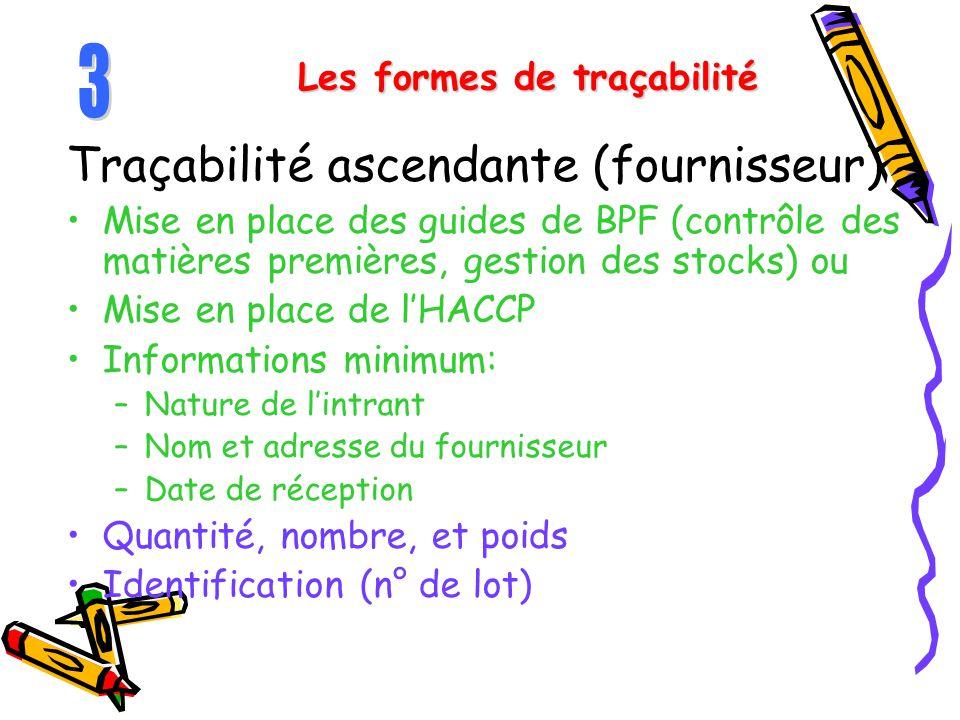 Les formes de traçabilité Traçabilité ascendante (fournisseur) Mise en place des guides de BPF (contrôle des matières premières, gestion des stocks) o