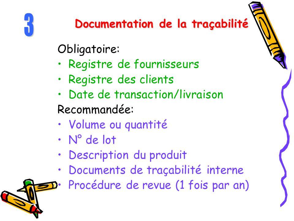 Documentation de la traçabilité Obligatoire: Registre de fournisseurs Registre des clients Date de transaction/livraison Recommandée: Volume ou quanti