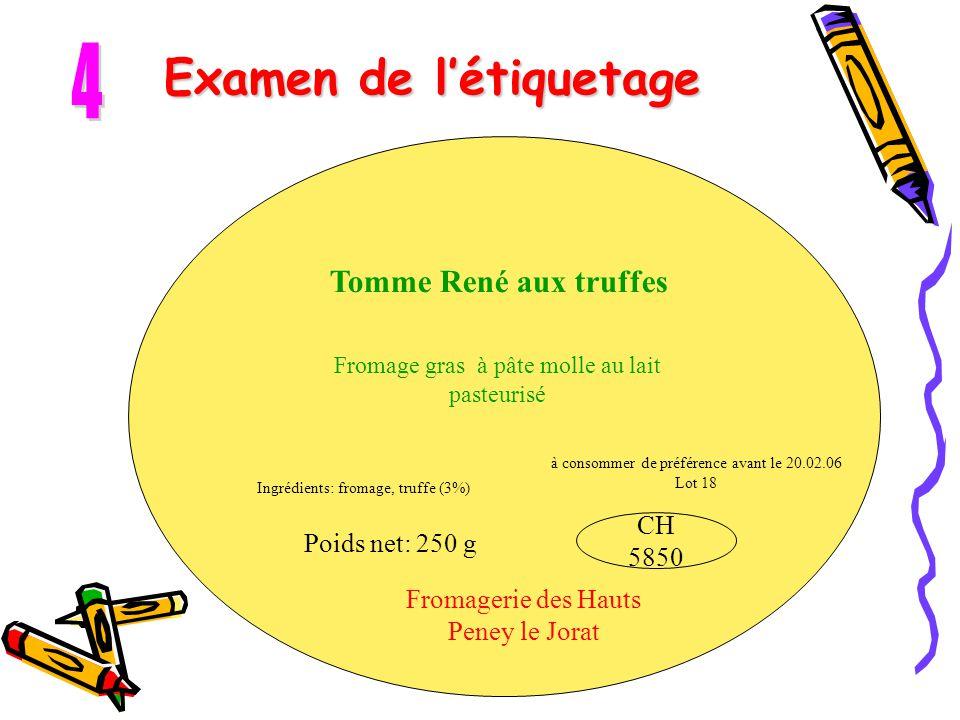 Examen de l'étiquetage Tomme René aux truffes Fromage gras à pâte molle au lait pasteurisé Fromagerie des Hauts Peney le Jorat Ingrédients: fromage, t