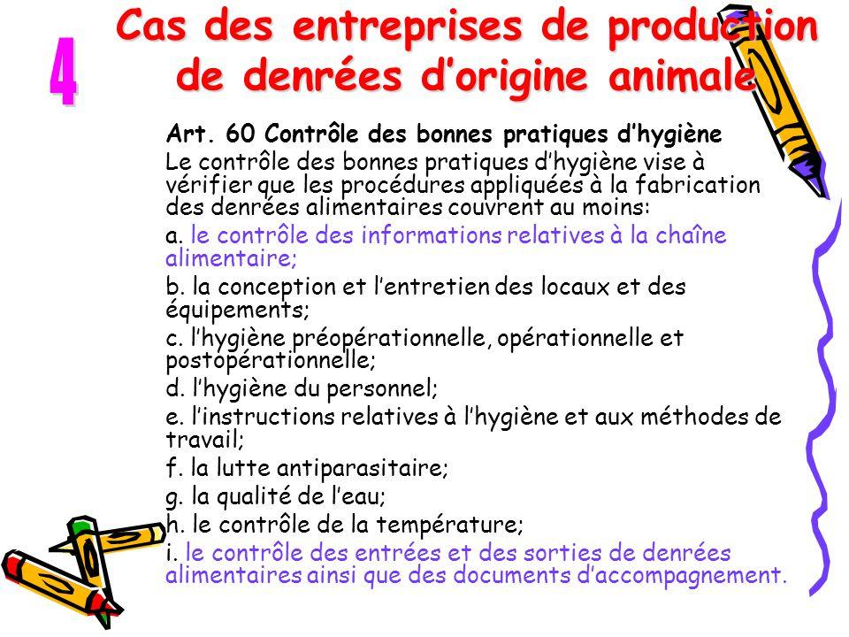 Cas des entreprises de production de denrées d'origine animale Art. 60 Contrôle des bonnes pratiques d'hygiène Le contrôle des bonnes pratiques d'hygi