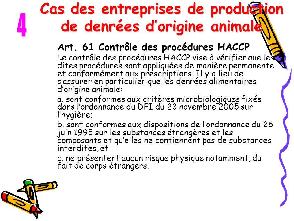 Cas des entreprises de production de denrées d'origine animale Art. 61 Contrôle des procédures HACCP Le contrôle des procédures HACCP vise à vérifier