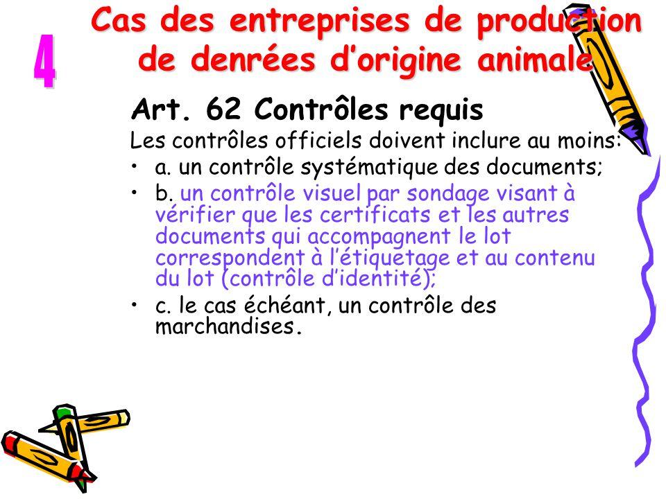 Cas des entreprises de production de denrées d'origine animale Art. 62 Contrôles requis Les contrôles officiels doivent inclure au moins: a. un contrô
