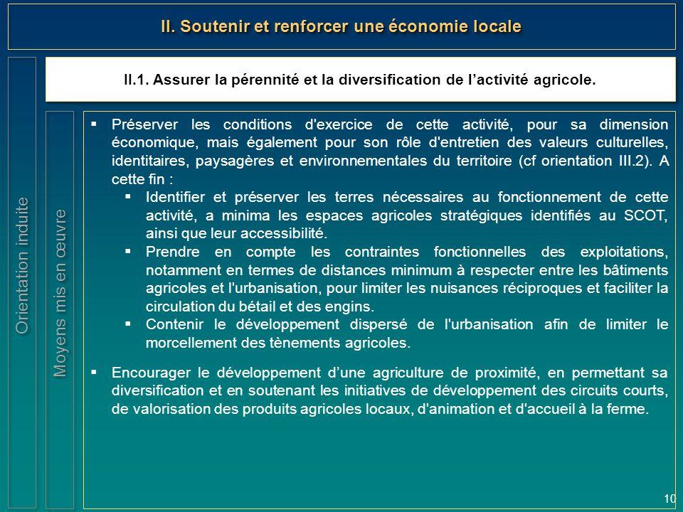 10 II.1. Assurer la pérennité et la diversification de l'activité agricole. Orientation induite II. Soutenir et renforcer une économie locale  Préser