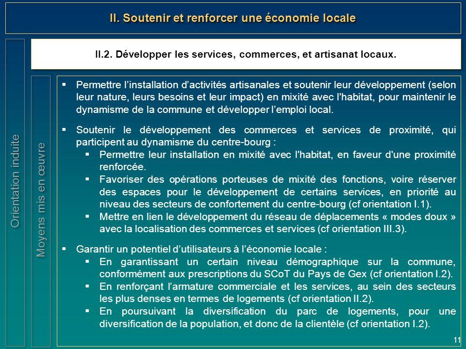 11 II.2. Développer les services, commerces, et artisanat locaux. Orientation induite II. Soutenir et renforcer une économie locale  Permettre l'inst