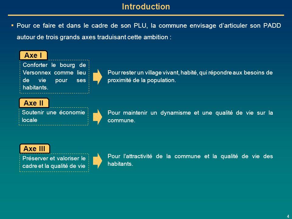 4 Introduction  Pour ce faire et dans le cadre de son PLU, la commune envisage d'articuler son PADD autour de trois grands axes traduisant cette ambi