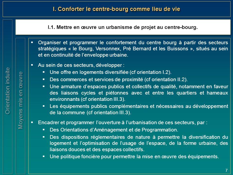 7 I.1. Mettre en œuvre un urbanisme de projet au centre-bourg. Orientation induite I. Conforter le centre-bourg comme lieu de vie  Organiser et progr
