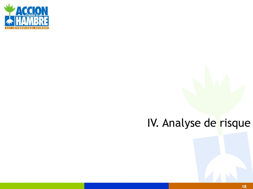 18 IV. Analyse de risque