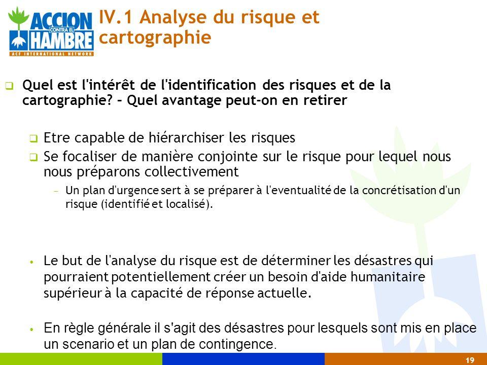 19 IV.1 Analyse du risque et cartographie  Quel est l'intérêt de l'identification des risques et de la cartographie? – Quel avantage peut-on en retir