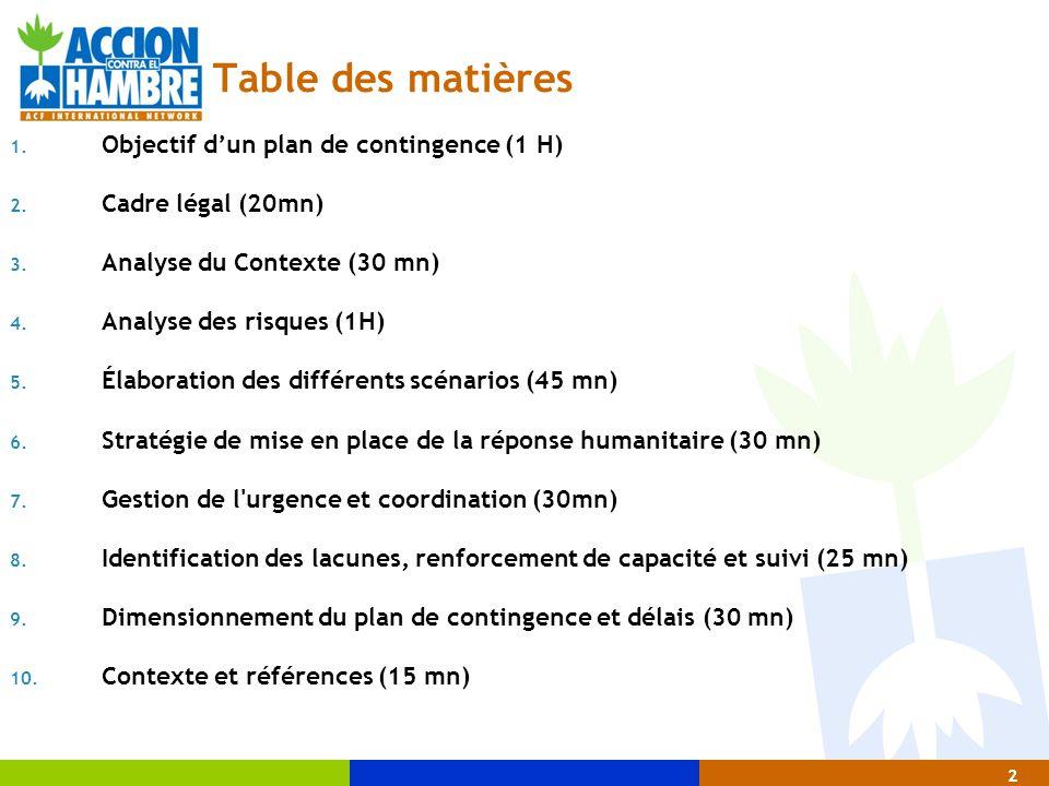 2 Table des matières 1. Objectif d'un plan de contingence (1 H)  2. Cadre légal (20mn)  3. Analyse du Contexte (30 mn)  4. Analyse des risques (1H)