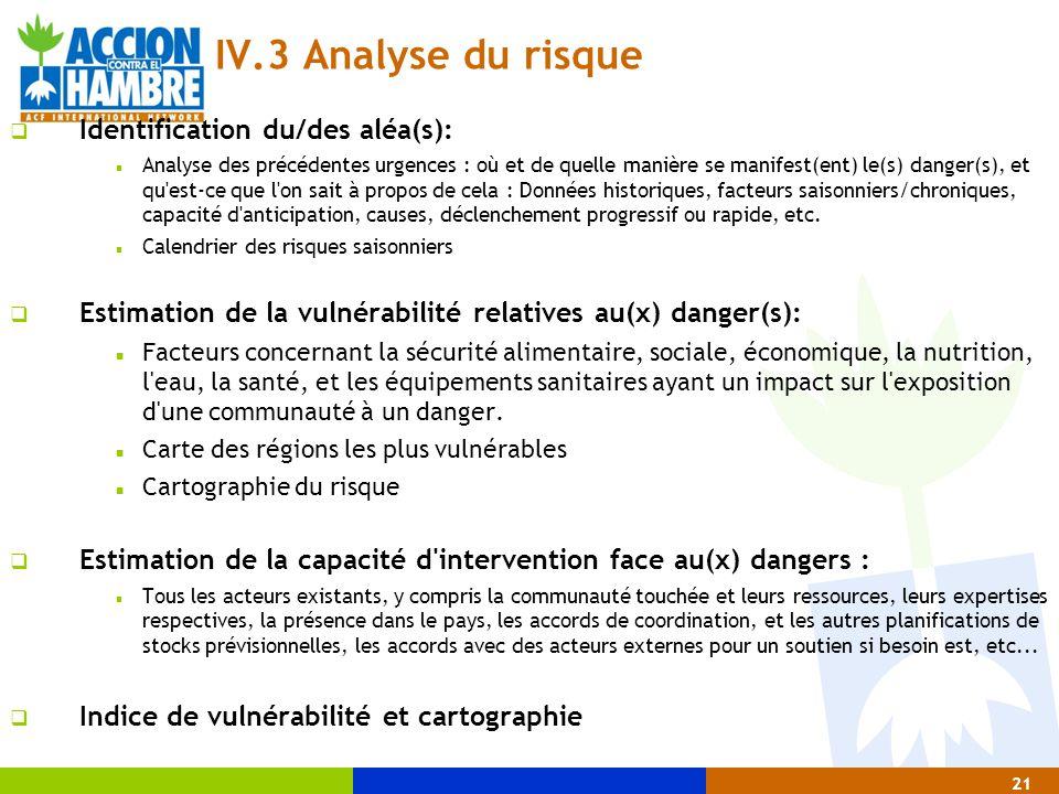 21 IV.3 Analyse du risque  Identification du/des aléa(s): Analyse des précédentes urgences : où et de quelle manière se manifest(ent) le(s) danger(s)