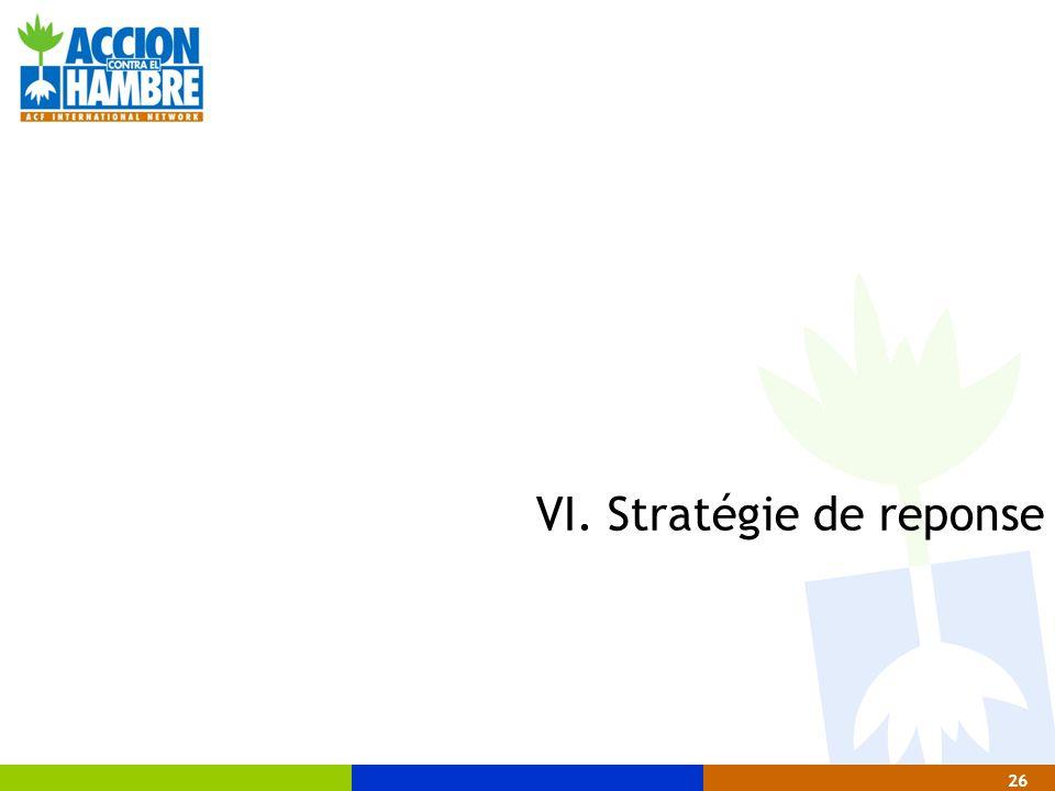 26 VI. Stratégie de reponse